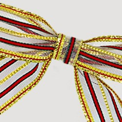 Gold/Red Stripe Bow