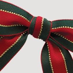 Xmas Stripe Twist-tie Bow